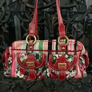 Isabella Fiore floral and pink Stripes Bag
